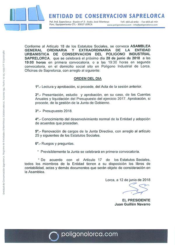 Convocatoria Asamblea General 2018
